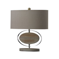 Dimond Lighting Hereford 1 Light Table Lamp in Bleached Wood With Chrome Finish D2296