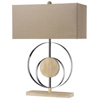 Dimond Lighting Shiprock 1 Light Table Lamp in Bleached Wood With Chrome Finish D2297