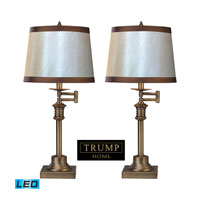 Dimond Lighting Trump Home Saddlebury 2 Light Table Lamp in Brown With Antique Brass D2368/s2-LED