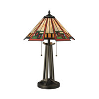 Carris 17 inch 100 watt Tiffany Bronze Table Lamp Portable Light