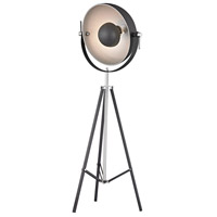 Backstage 61 inch 100 watt Matt Black With Polished Nickel Floor Lamp Portable Light