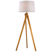 Wooden Tripod 63 inch 150 watt Natural Wood Tone Floor Lamp Portable Light in Incandescent