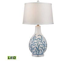 Dimond Sixpenny 1 Light Table Lamp in Pale Blue With White D2478-LED