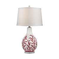 Dimond Sixpenny 1 Light Table Lamp in Red With White D2479
