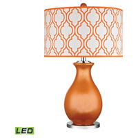 Dimond Thatcham 1 Light Table Lamp in Tangerine Orange with Polished Nickel D2511-LED