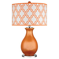 Dimond Thatcham 1 Light Table Lamp in Tangerine Orange with Polished Nickel D2511