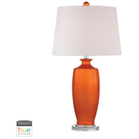 Dimond Lighting D2512-HUE-D Halisham 27 inch 60 watt Polished Nickel with Tangerine Orange Table Lamp Portable Light
