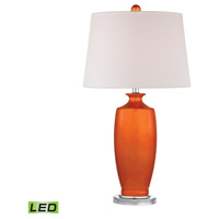 Dimond Halisham 1 Light Table Lamp in Tangerine Orange with Polished Nickel D2512-LED