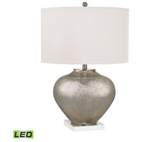 Edenbridge 28 inch 9.5 watt Antique Silver Mercury Glass With Crystal Table Lamp Portable Light in LED