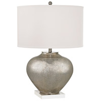 Edenbridge 28 inch 150 watt Antique Silver Mercury Glass With Crystal Table Lamp Portable Light in Incandescent