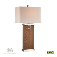 Dimond Equitation 1 Light Table Lamp in Dark Walnut, Polish Nickel and Chrome D2555-LED