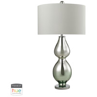Double Gourd 31 inch 60 watt Green with Polished Chrome and Silver Table Lamp Portable Light