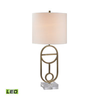 Dimond Lighting Ryan 1 Light LED Table Lamp in Antique Brass Metal and Acrylic D2587-LED