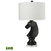 Knight 28 inch 9.5 watt Gloss Black Table Lamp Portable Light in LED