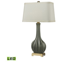 Fluted Ceramic 34 inch 9.5 watt Grey Glaze and Antique Brass Table Lamp Portable Light in LED