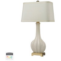 Fluted Ceramic 34 inch 60 watt Brass with White Table Lamp Portable Light