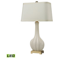 Fluted Ceramic 34 inch 9.5 watt Cream Glaze and Antique Brass Table Lamp Portable Light in LED