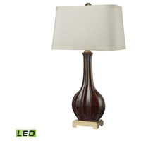 Fluted Ceramic 34 inch 9.5 watt Red Glaze and Antique Brass Table Lamp Portable Light in LED
