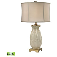 Dimond Lighting D2598-LED Ceramic Leaf 30 inch 9.5 watt Antique Brass/Cream Table Lamp Portable Light in LED