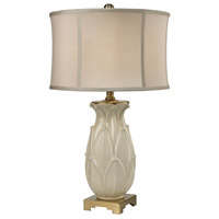 Dimond Lighting Leaf 1 Light Table Lamp in Ivory Glaze and Antique Brass Earthenware and Metal D2598