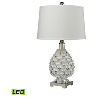 Dimond Lighting Signature 1 Light LED Table Lamp in White Peralescent Glaze and Polished Nickel Earthenware and Crystal and Metal D2599-LED