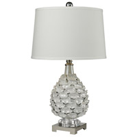 Dimond Lighting Signature 1 Light Table Lamp in White Peralescent Glaze and Polished Nickel Earthenware and Crystal and Metal D2599