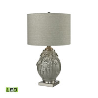 Foliage 27 inch 9.5 watt Grey Glaze and Brushed Steel Table Lamp Portable Light in LED