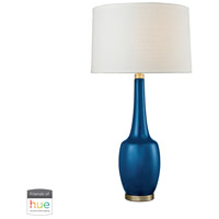 Dimond Lighting D2611NB-HUE-B Modern Vase 36 inch 60 watt Antique Brass with Navy Blue Table Lamp Portable Light