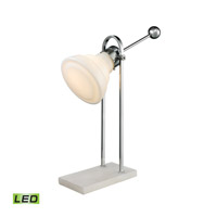 Dimond Lighting Adjustable Vintage Ball Handle 1 Light LED Desk Lamp in White and Polished Nickel Alabaster and Glass and Metal D2614-LED