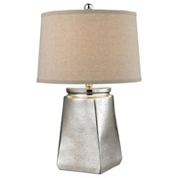 Tapered Square 25 inch 150 watt Silver Mercury Table Lamp Portable Light in Incandescent