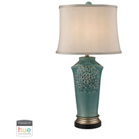 Organic Flowers 31 inch 60 watt Bronze with Gold and Seafoam Table Lamp Portable Light