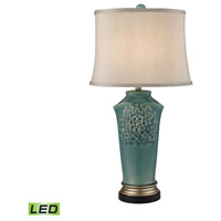 Dimond Lighting Flowers 1 Light LED Table Lamp in Medium Seafoam Glaze and Gold and Bronze Earthenware D2626-LED