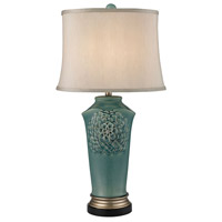 Dimond Lighting Flowers 1 Light Table Lamp in Medium Seafoam Glaze and Gold and Bronze Earthenware D2626