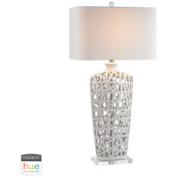Signature 36 inch 60 watt Crystal with Gloss White Table Lamp Portable Light