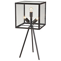 Dimond Lighting Workshop Cube 3 Light Table Lamp in Aged Bronze Glass and Metal D2658