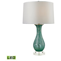 Swirl Glass 27 inch 9.5 watt Aqua Swirl Table Lamp Portable Light in LED