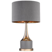 Dimond Lighting Cone Neck Small 1 Light Table Lamp in Grey and Gold with Grey Faux Silk Shade D2748