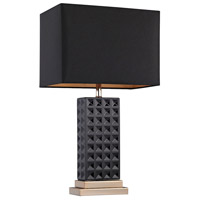 Dimond Lighting Stud Ceramic 1 Light Table Lamp in Black and Gold with Black Linen Shade D2750