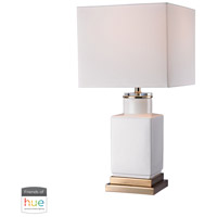 Signature 21 inch 60 watt Gloss White with Gold Table Lamp Portable Light