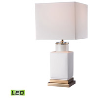 White Cube 21 inch 9.5 watt Gloss White and Gold Table Lamp Portable Light in LED