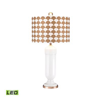 Footed Vase 31 inch 9.5 watt Gloss White and Gold Table Lamp Portable Light in LED