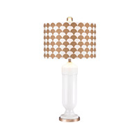 Footed Vase 31 inch 100 watt Gloss White and Gold Table Lamp Portable Light in Incandescent