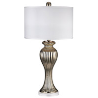 Ribbed Tulip 32 inch 100 watt Gold Table Lamp Portable Light in Incandescent
