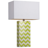 Chevron 26 inch 100 watt Citrus Green and White Table Lamp Portable Light in Incandescent
