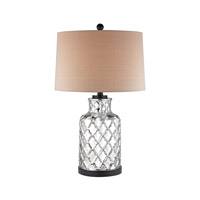 Dimond Lighting Mercury Quatrefoil Jug 1 Light Table Lamp in Chrome Plating and Black with Sand Linen Shade D2783