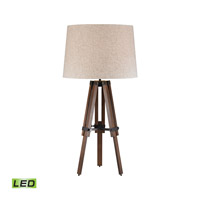 Wooden Brace Tripod 31 inch 9.5 watt Walnut and Oil Rubbed Bronze Table Lamp Portable Light in LED