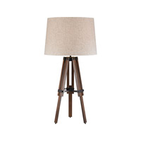 Wooden Brace Tripod 31 inch 150 watt Walnut and Oil Rubbed Bronze Table Lamp Portable Light in Incandescent