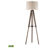 Wooden Brace Tripod 62 inch 9.5 watt Walnut and Oil Rubbed Bronze Floor Lamp Portable Light in LED