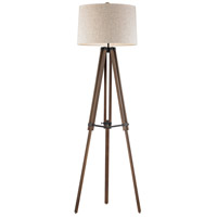 Wooden Brace Tripod 62 inch 150 watt Walnut and Oil Rubbed Bronze Floor Lamp Portable Light in Incandescent