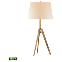 Pointed Tripod 30 inch 9.5 watt Antique Brass Table Lamp Portable Light in LED